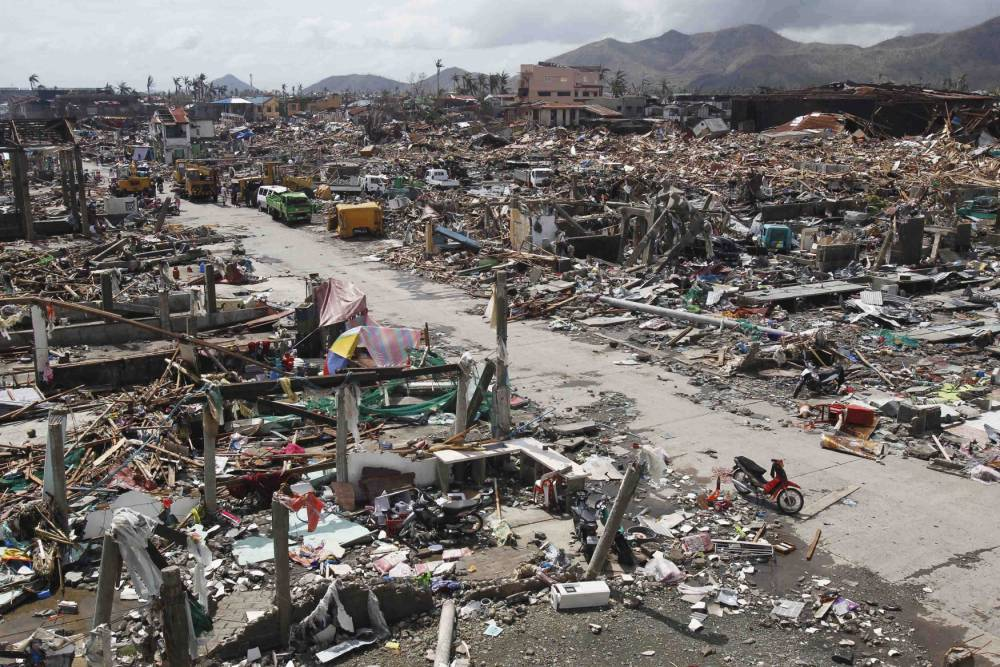 Destruction in Tacloban city, Philippines after Typhoon Haiyan