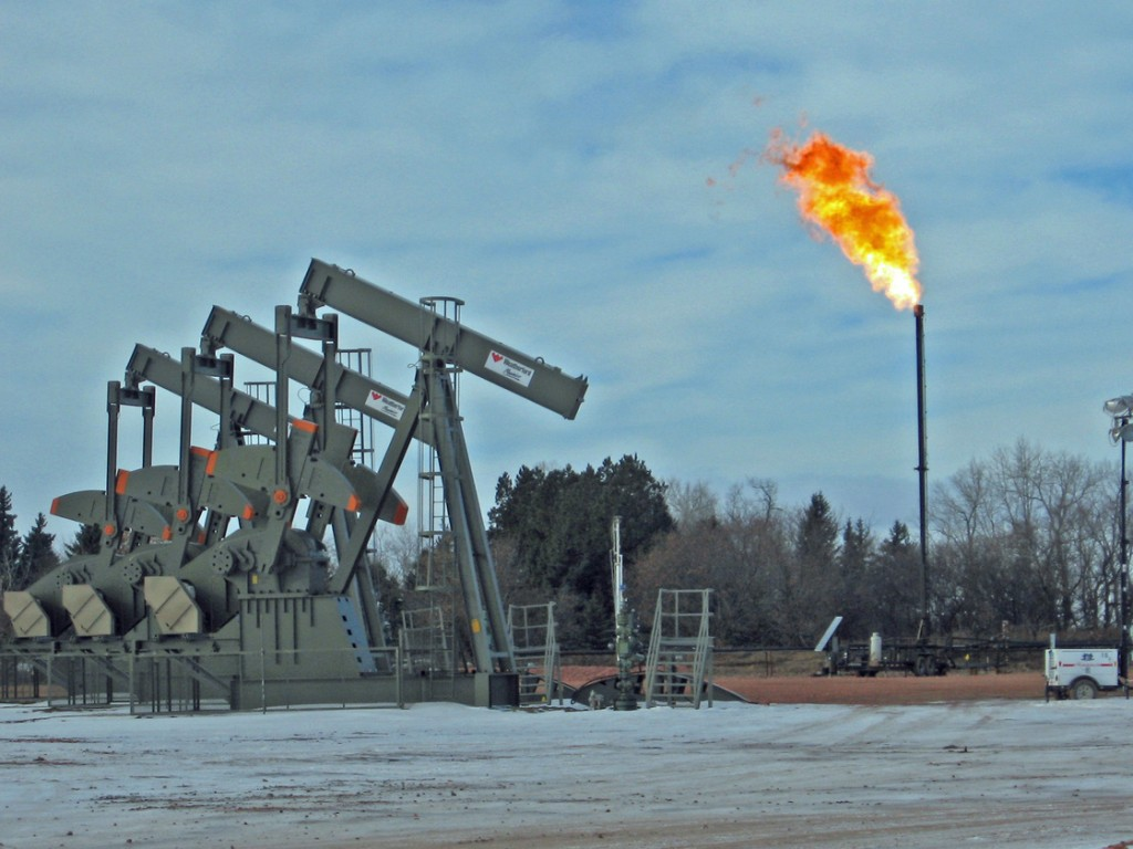 """Waste gas"" flaring at Keene North Dakota  photo by Jeff Brady NPR"