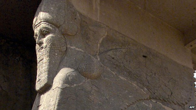 Statue in the ancient City of Nimrud   in Iraq